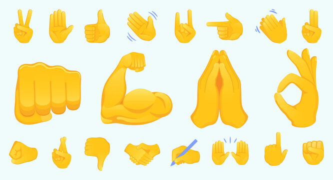 Hand gesture emojis icons collection. Handshake, biceps, applause, thumb, peace, rock on, ok, folder hands gesturing. Set of different emoticon hands isolated vector illustration.