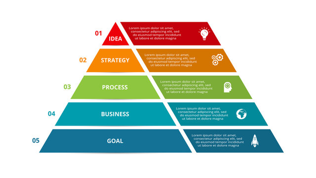 Vector pyramid up arrows infographic, diagram chart, triangle graph presentation. Business timeline concept with 5 parts