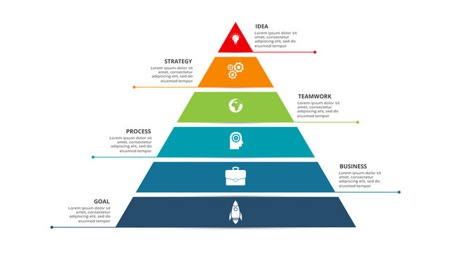 Vector pyramid up arrows infographic, diagram chart, triangle graph presentation. Business timeline concept with 6 parts