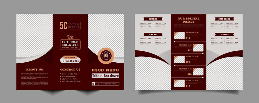 Food trifold brochure menu template. fast food menu brochure for restaurant with red color