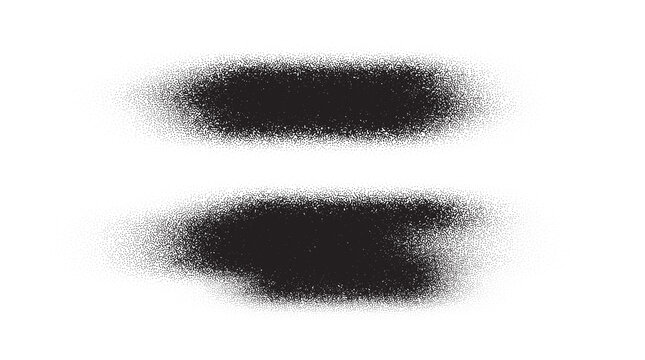 Brush stroke paint. Dotwork stain pattern. Sand grain effect. Black noise stipple dots. Abstract noise dotwork pattern. Black dots grunge banner. Stipple circles. Dotted brush stroke. Vector