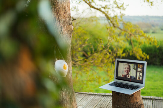 Face mask hanging on tree next to friends video chatting on laptop
