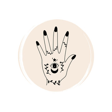 Cute ornate doodle hand with sacred symbols in bohemian style logo vector illustration on circle with brush texture for social media story highlight