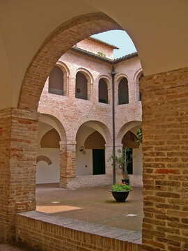 Italy, Marche, Ostra Vetere, the Cloister of Saint Francis in Fredom square.