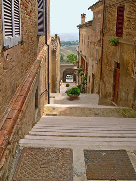 Italy, Marche, Ostra Vetere , typical city medieval steps.