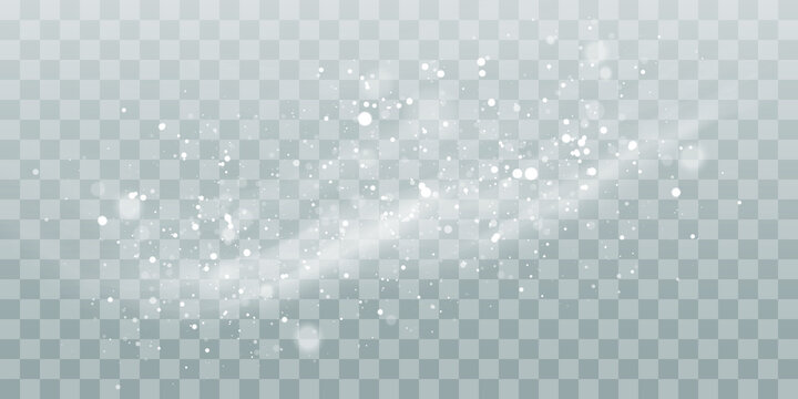 Vector heavy snowfall, snowflakes in different shapes and forms. Snow flakes, snow background. Falling Christmas