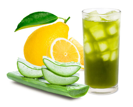 Glass of aloe vera smoothie juicy with green fresh aloevera leaf and lemon fruit isolated on white background. Healthy drinks concept.