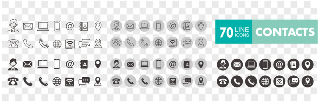Set of 70 Contact Us web icons in line style