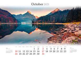 Calendar October 2021, B3 size. Set of calendars with amazing landscapes. Two mountain peaks are reflected in calm surface of water. Colorful autumn view of Obersee lake, Switzerland, Europe.