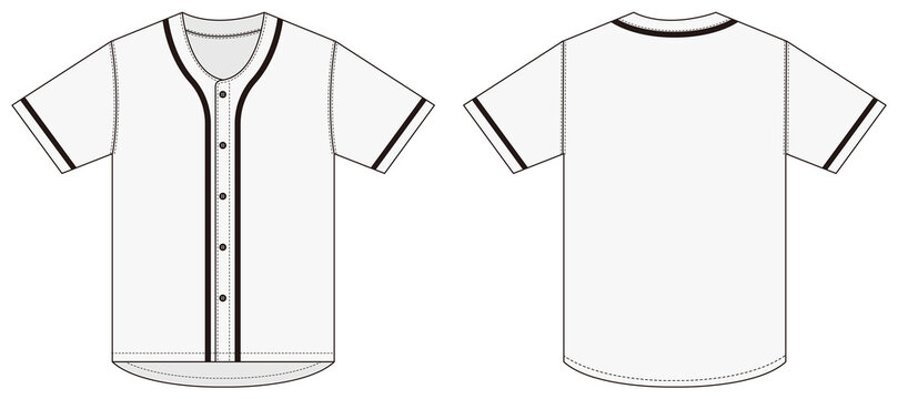 Jersey shortsleeve shirt (baseball uniform shirt) template vector illustration