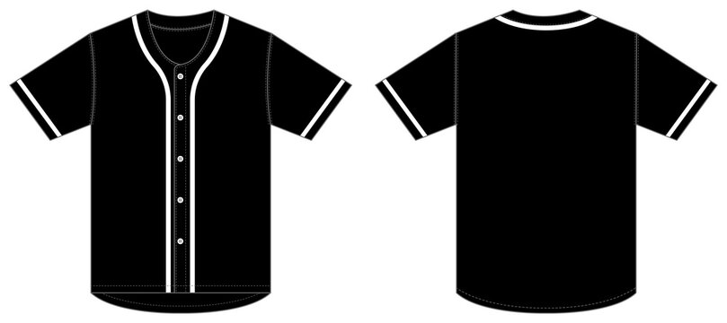 Jersey shortsleeve shirt (baseball uniform shirt) template vector illustration