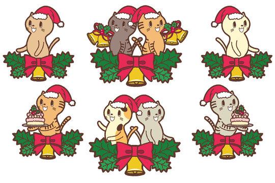 クリスマス_猫と装飾リボン付きのベル