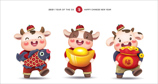 2021 Chinese new year, year of the ox greeting card design with 3 little cute cows