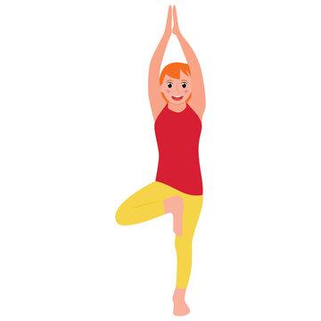 Kid in tree pose yoga flat icon design