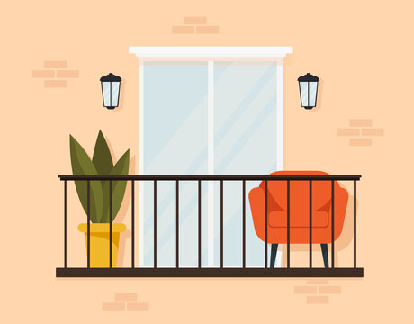 Stylish exterior of a cozy balcony with furniture and a large window. Design with an armchair, indoor flowers. Flat style. Vector stock illustration. Comfortable terrace in yellow colors. City life.