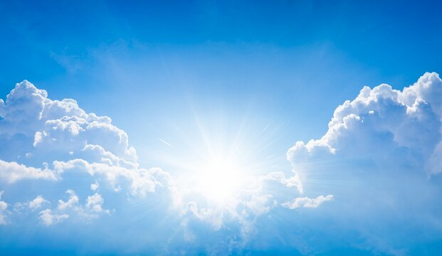 Beautiful religious image - bright light from heaven, light of hope and happyness from skies.