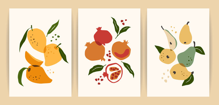 Collection of contemporary art prints. Abstract fruits. Mango, pomegranate and pear.