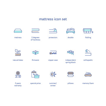 Orthopedic mattress linear icon set. Mattresses properties symbol pack — spine support, washable cover, hardness, latex, bedding illustrations. Isolated contour illustration