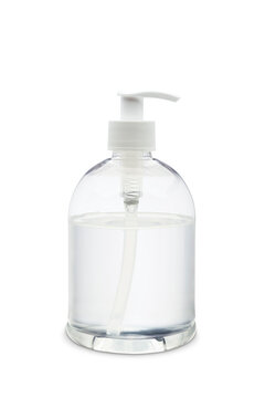 Dispenser of antibacterial gel on white background