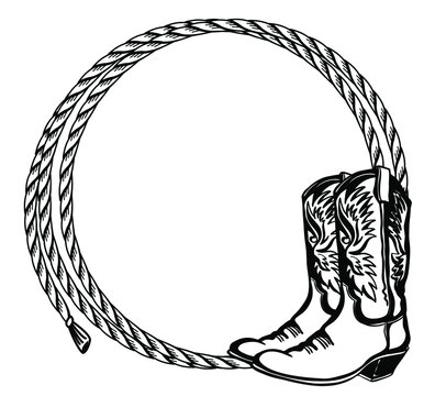 Cowboy rope frame with Western boots. Vector illustration cowboy background for text