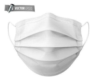 Masque chirurgical vectoriel sur fond blanc