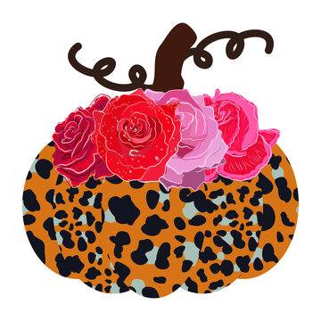 Leopard print pumpkin with red rose decoration. Isolated on white background.