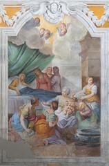 ACIREALE, ITALY - APRIL 11, 2018: The fresco of Nativity of Virgin Mary in church Chiesa di San Camillo by Pietro Paolo Vasta (1745 - 1750).
