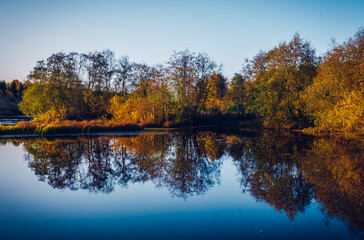 autumn trees reflected in lake