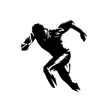 Sprint logo. Running man, abstract isolated vector sillhouette. Run