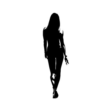 Sexy fitness woman walking in swimsuit, read view. Isolated vector silhouette
