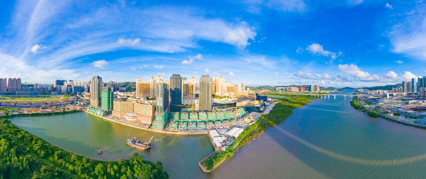 Aerial view of Taipa and Coloane Islands, Macau, China
