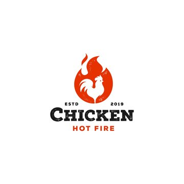 rustic fire chicken logo, hen flame hot symbol vector icon illustration, modern gradient logo , fast food restaurant app icon