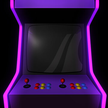 Close up to the empty screen of an arcade machine. A 3D illustration background with copy space