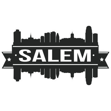 Salem Skyline Silhouette Design City Vector Art Stencil.