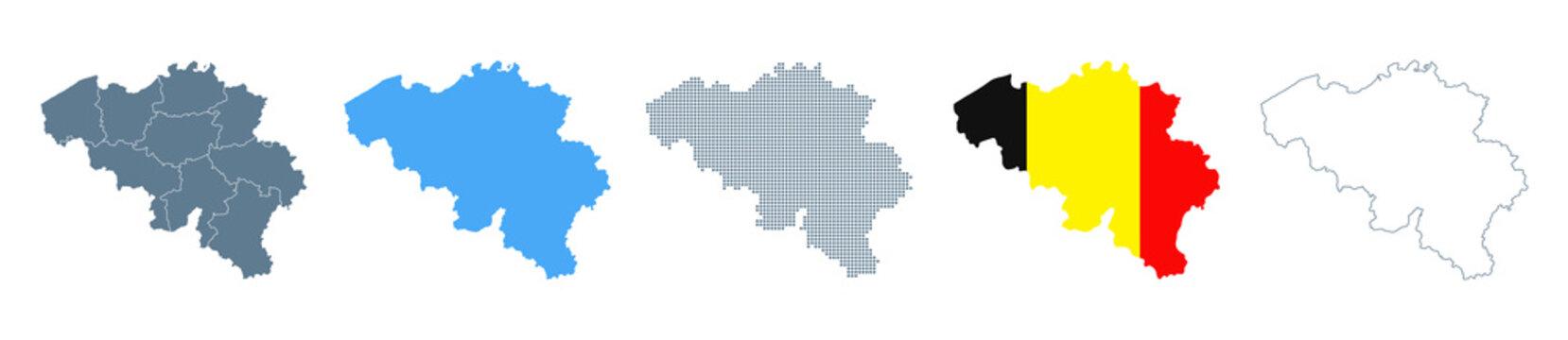 Belgium Map Set - Vector Solid, Contour, Regions, Flag, Pixels