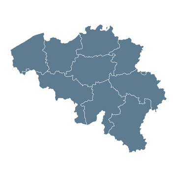 Belgium Map - Vector Solid Contour and State Regions