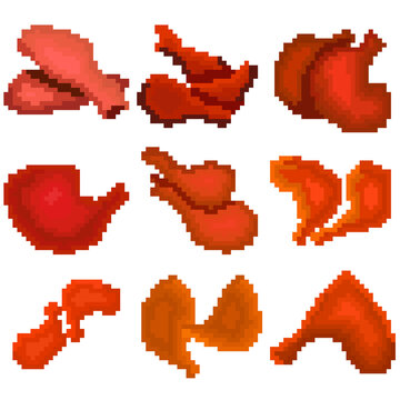 A food set of nine images of fried chicken legs. Images for different purposes sites, logos, restaurant menus, and more.