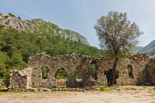 Olympos archeological site at Olympos national park site near Cirali beach and mount Tahtali in Turkey