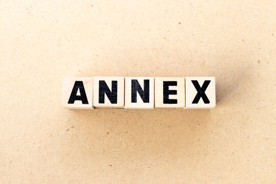 Alphabet letter block in word annex on wood background