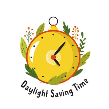 Daylight Saving Time. Abstract design with clock