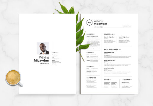 Simple Resume with Cover Letter and Portfolio Layout