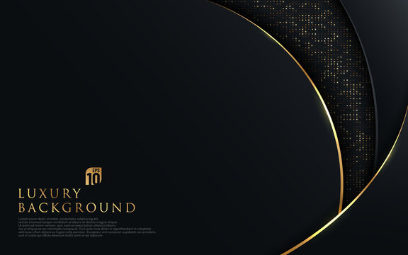 Abstract curve overlapping on black background with glitter and golden lines glowing dots golden combinations. Luxury and elegant design. Vector illustration
