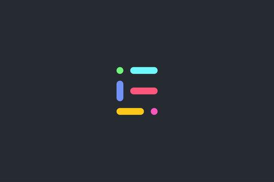 Minimal Geometrical Abstract Letter E Dark Background Logo Template