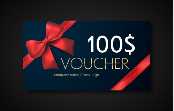 Gift voucher with red ribbon and bow. Discount gift cards template. Vector illustration