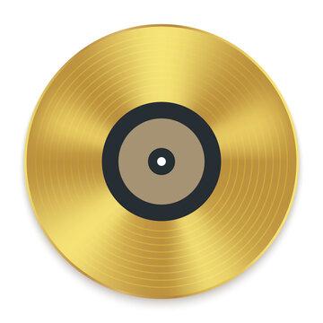 Gramophone golden vinyl disco record album. Music jukebox calssic vinyl disk