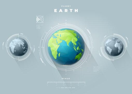 Eastern Earth hemisphere with scale