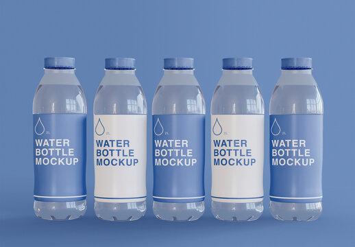 Five Plastic Water Bottle Mockups