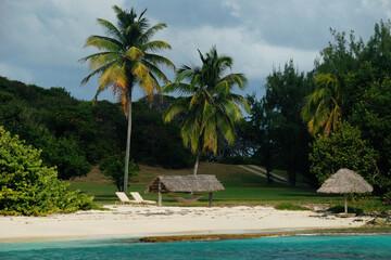 malownicza karaibska wysepka Petit Saint Vincent w lutym. Widok od strony morza. Biały piasek,...