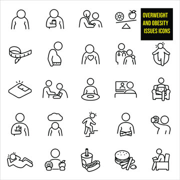 Overweight And Obesity Thin Line Icons -  stock illustration. an obese person, a man drinking a soda, a person having heart checked by a doctor using a stethoscope, donut, and apple on a scale.