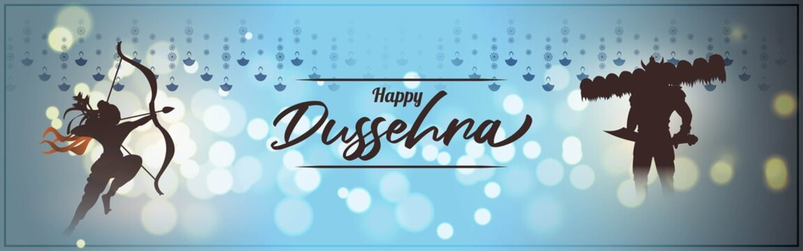 Vector illustration of Happy Dussehra greeting, Indian festival, Lord Rama holding bow and arrow in hands killing Ravana, fireworks, danglers, beautiful bokeh background.